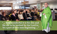 Joyous scenes as over 600 celebrate first Mass at Australia's newest church in Oran Park - 19 July 2015